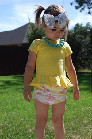 Pink Lemonade Girls Bloomers - Summer Yellow Stretchy Knit Lemon Toddler Shorties - Kids Shorts - Bummies Handmade Stretchy Knit Summer
