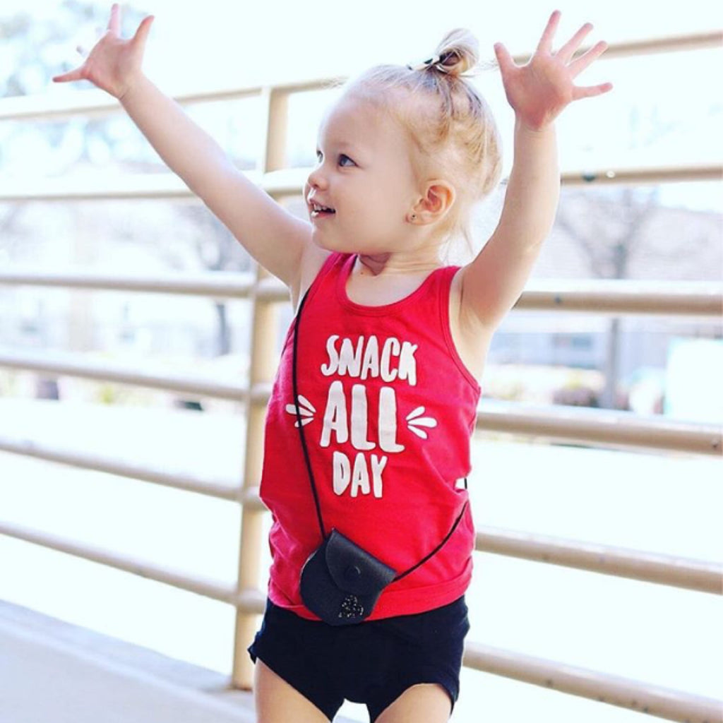 Snack All Day Tank Top -- Toddler Girls Fun Top -- Spring and Summer Red & White Snacks Tee - Toddlers, Kids Trendy Funny Shirts