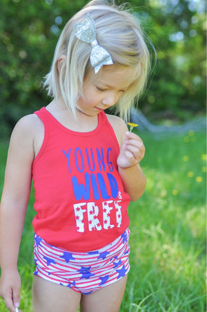 Patriotic Stars and Stripes Girls Bloomers - Red, White and Blue Stretchy Knit Toddler Shorties - Kids Shorts - 4th of July Bummies Summer