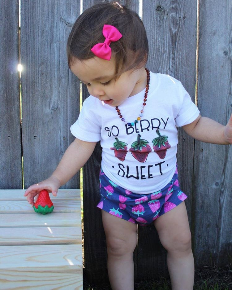 Girls Strawberry Bloomers - Navy Blue and Pink Toddler Shorties - Kids Shorts - SummerLight Baby Bummies Handmade Knit Stretchy Fruit
