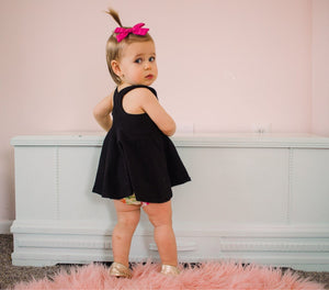 Girls Black Racerback Solid Tank Top Peplum - Kids Twirl Top - Kids Fit and Flare Shirt - Easter Sleeveless Tunic Dress Baby Shower Gift