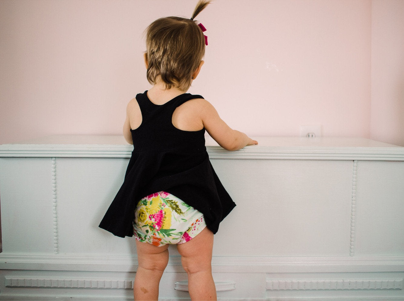 Mint Floral Bloomers - Girls Green, Pink, Yellow Toddler Shorties - Kids Shorts - Bummies Summer Handmade Stretchy Knit Easter Shorties