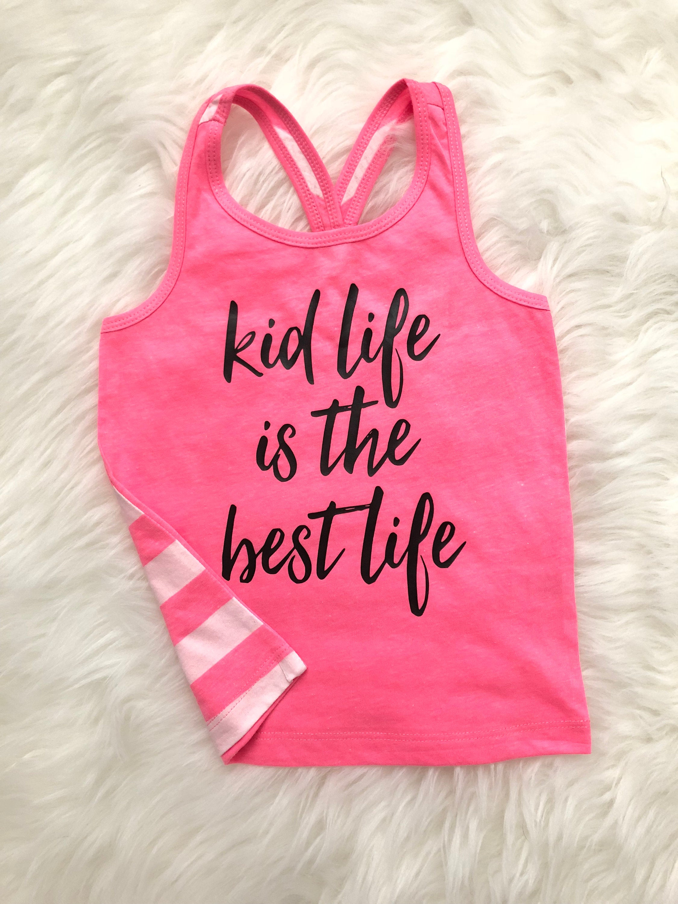 Kid Life is the Best Life Hot Pink or Coral Striped Back Two-toned Racerback Tank Top - Pink, White, and Black Girls Shirt - Kids Summer Top