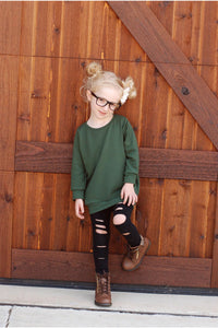 Super Soft Girls Sweater Pullover - Solid Hunter Army Green Kids Sweatshirt - Stretchy Knit Fall Back to School Long Sleeve Top