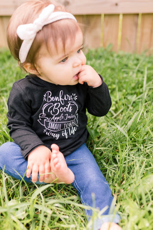 Small Town Long Sleeve Hooded Tee - Black and Gray Kids Unisex Boys Girls Fall Lightweight T-Shirt - Bonfire Boots Apple Juice Hood Top