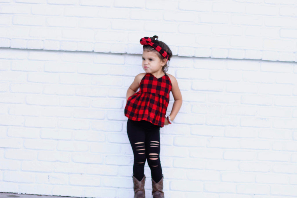 Black Distressed Leggings - Solid Black Stretchy Hand Destroyed Girls Kids Pants Bottoms