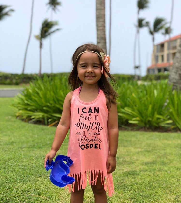 Summer Fringe Tank Top Dress - Saltwater Gospel Shirt -- Kids, Girls Toddler, Baby, Pink Black, White Bright Neon Spring Beach Vacation