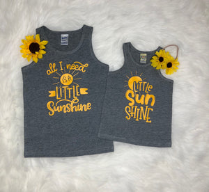 Sunshine Matching Tank Tops - Sibling Best Friend Gray Little Sunshine Shirts - Kids Baby Unisex Spring Summer Tanks - Yellow Graphic