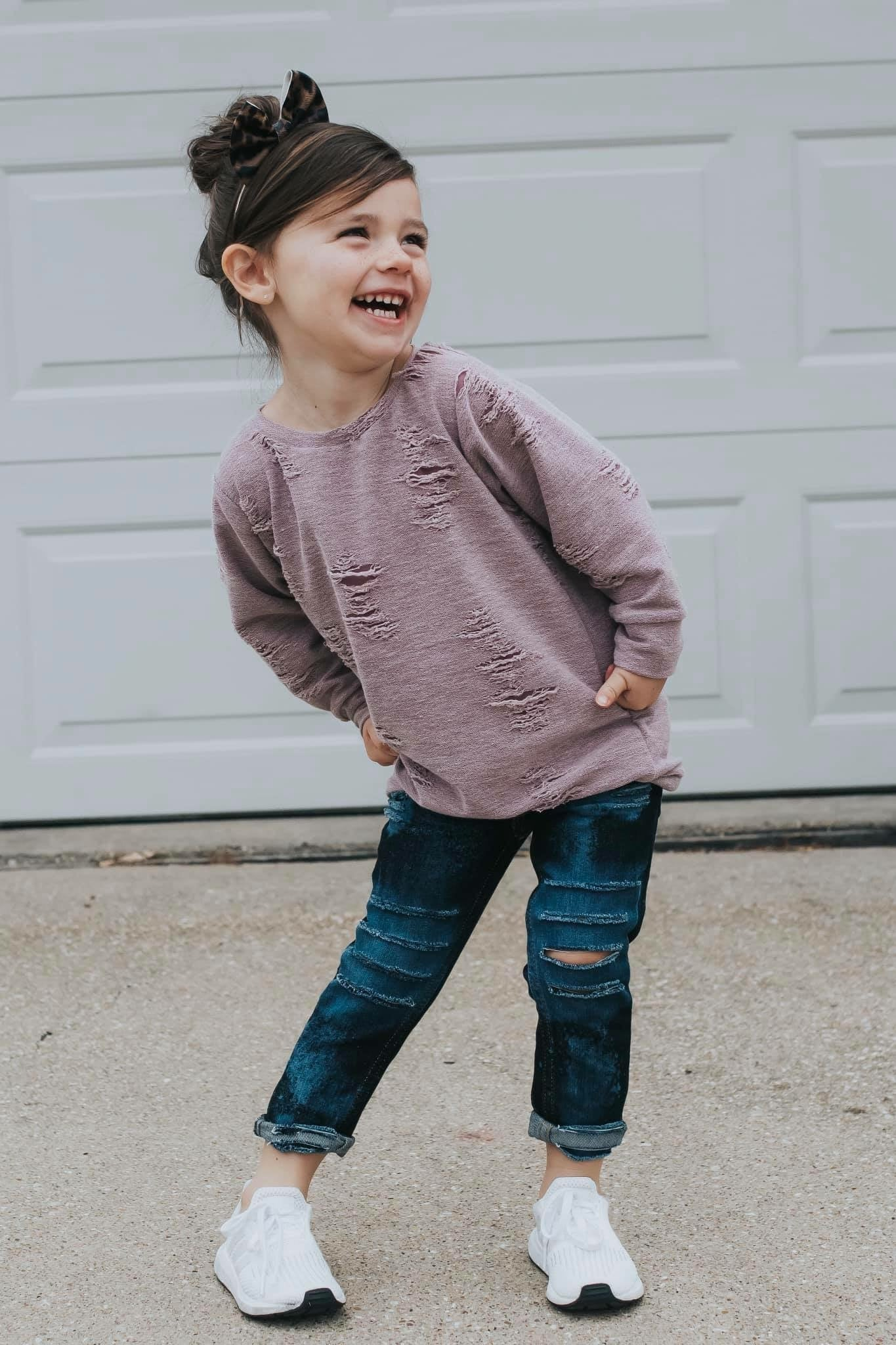 Distressed Girls Sweater Pullover - Soft Solid Thistle Pink Kids Sweatshirt
