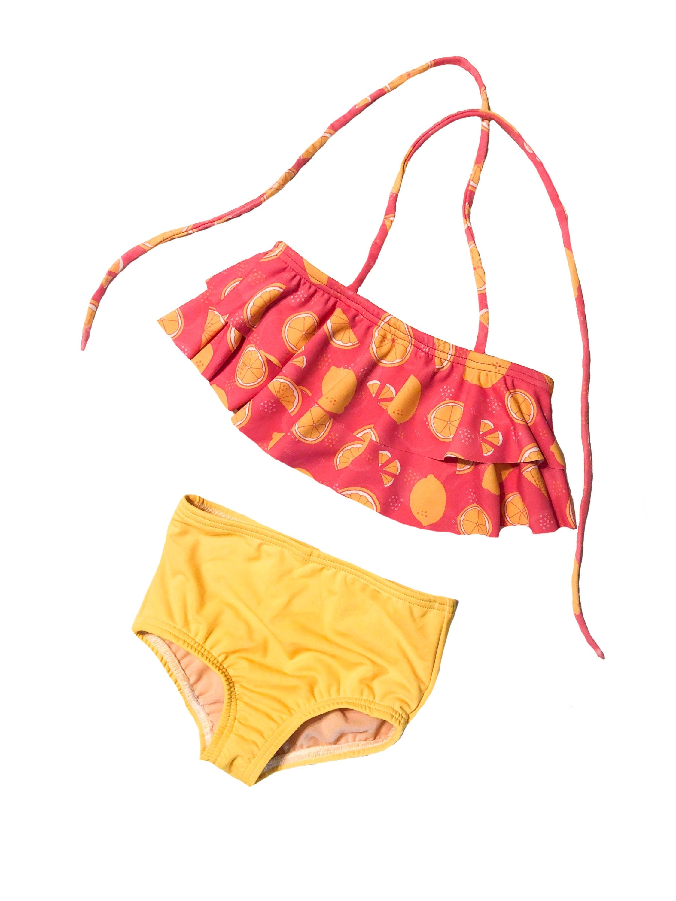 Yellow & Pink Lemonade Two-Piece Ruffle Girls Swimsuit - Hot Pink Lemon Double Ruffle Kids Baby Toddler Bathing Suit - High-Waisted Bottoms
