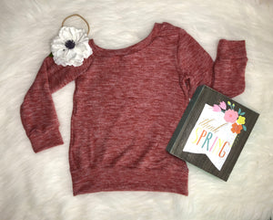 Off-Shoulder Girls Sweater Pullover - Soft Solid Mauve Pink Kids Sweatshirt - Stretchy Soft Knit Spring Winter Long Sleeve One Shoulder Top