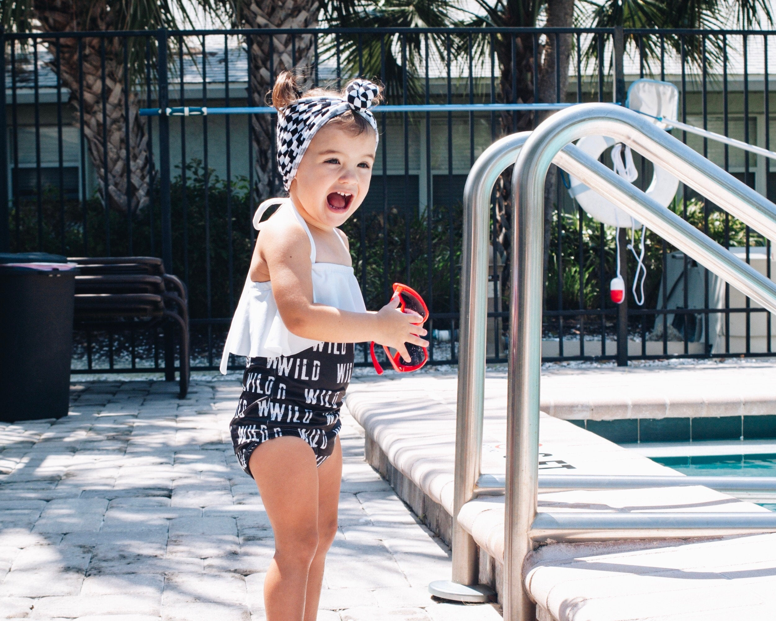 Monochrome Wild Ruffle One-Piece Swimsuit - Kids Baby Toddler Black and White Top Ruffle -  Bathing Suit
