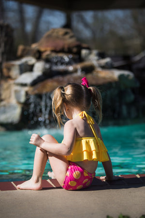 Yellow Lemonade Two-Piece Ruffle Girls Swimsuit - Hot Pink and Yellow Lemon Double Kids Baby Toddler Bathing Suit - High-Waisted Bottoms