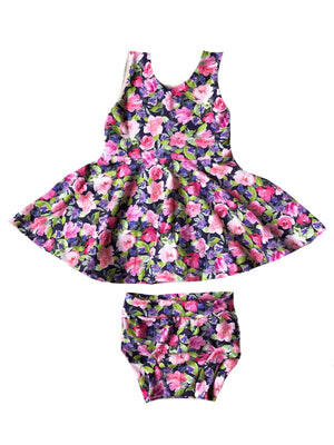Pink Floral Scoop Back Tank Top Peplum - Girls Spring Navy Purple Handmade Twirl Top - Kids Fit & Flare Shirt -Sleeveless Sister Baby