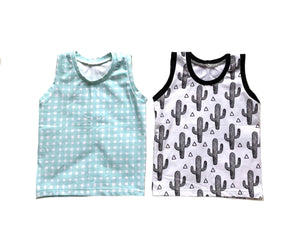 Spring Unisex Sleeveless Tank Tops - Kids Boys Girls Monochrome Cactus or Mint Gingham Baby Toddler Shirts