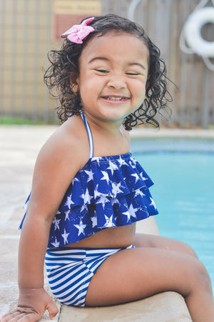 Girls Two Piece Navy Swimsuit- Blue & White Stars and Micro Stripes High Waisted Bathing Suit - Baby Toddler Kids Ruffle Swim Suit