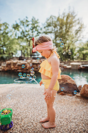 Solid Yellow Two-Piece Ruffle Girls Swimsuit - Yellow Double Ruffle Kids Baby Toddler Bathing Suit - High-Waisted Bottoms
