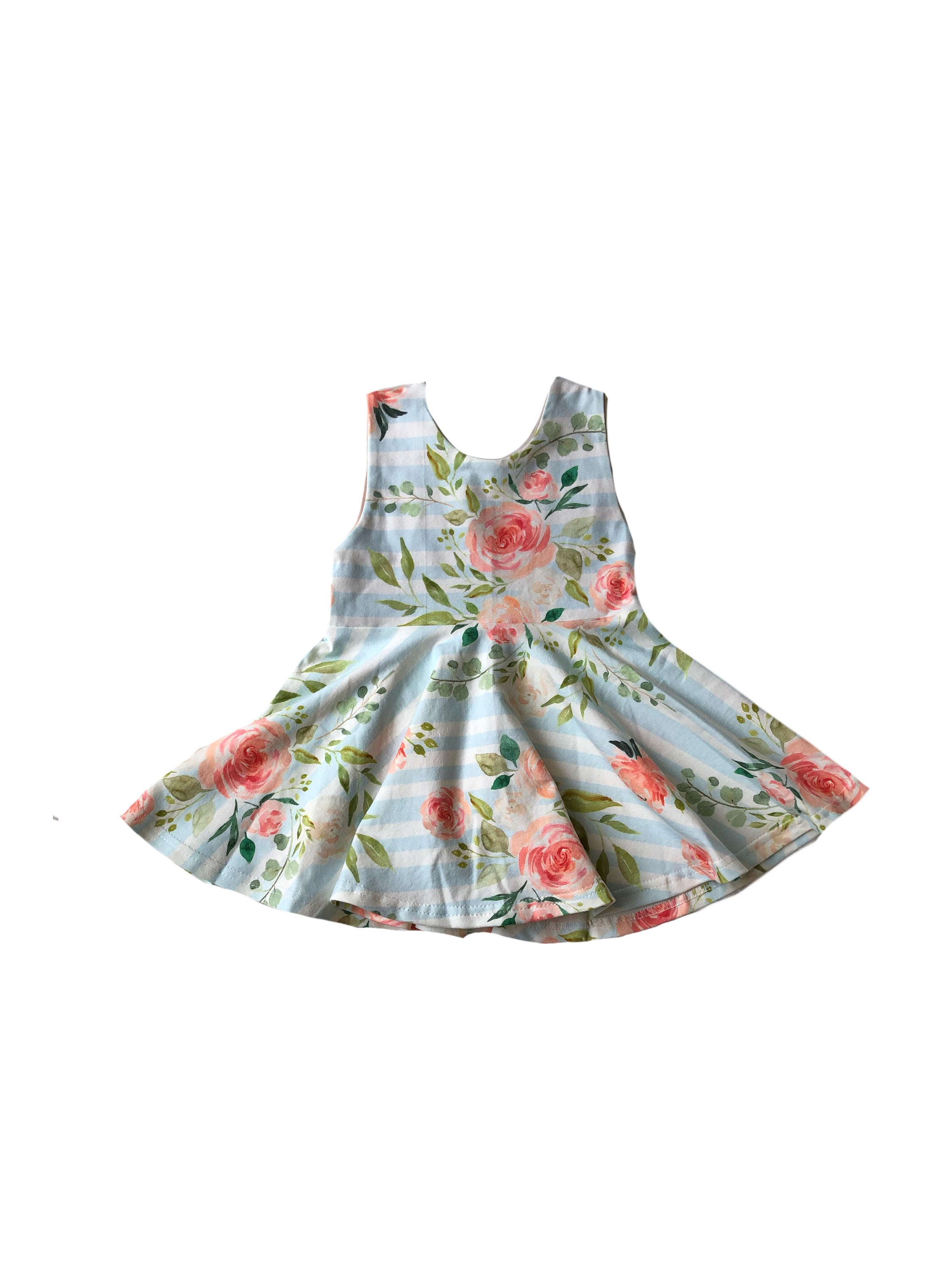 Floral Scoop Back Tank Top Peplum - Girls Spring Blue Handmade Toddler Twirl Top - Kids Fit & Flare Shirt -Sleeveless Sister Baby
