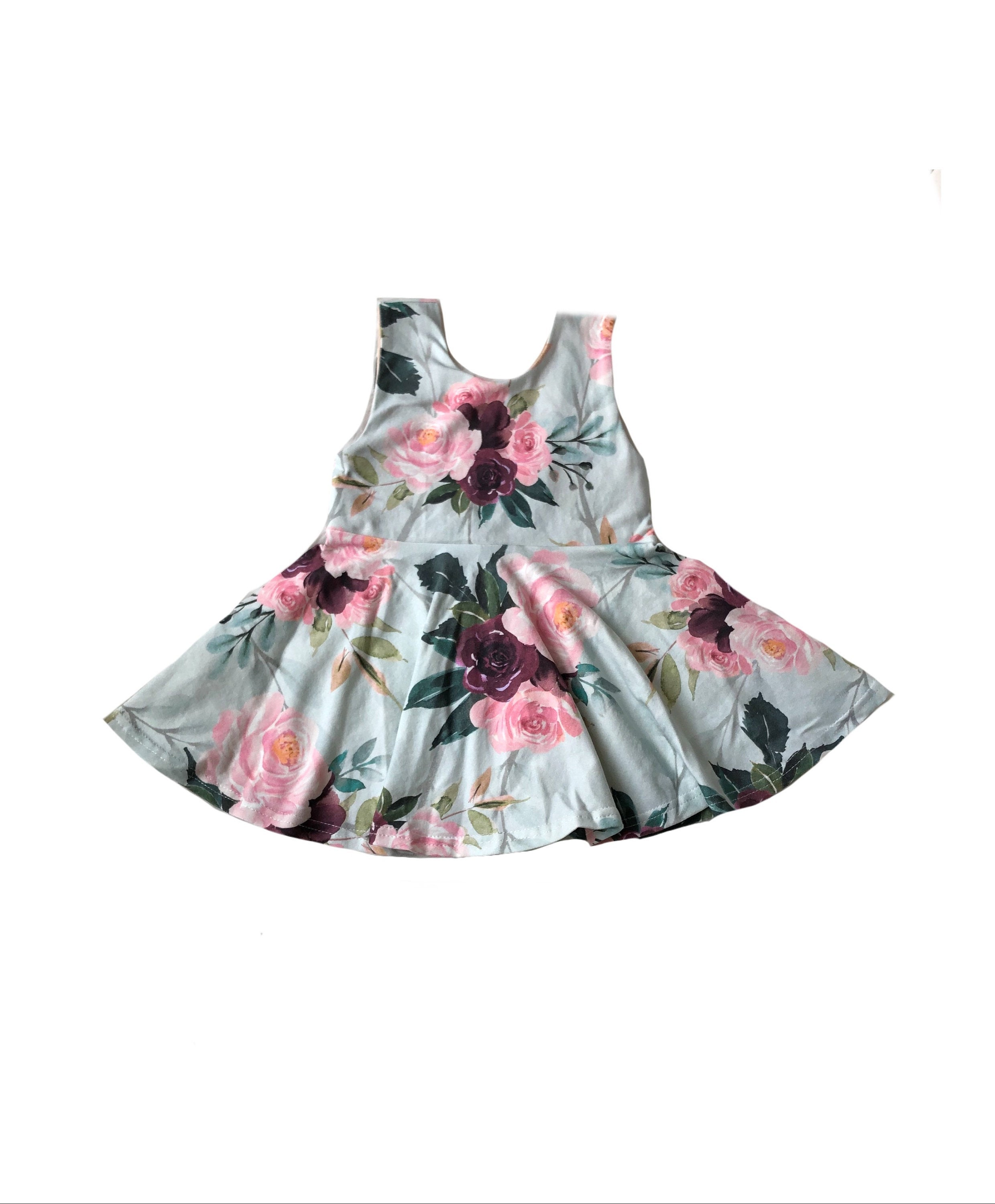 Summer Floral Scoop Back Tank Top Peplum- Girls Blue Maroon Pink Handmade Toddler Twirl Top - Kids Fit & Flare Shirt -Sleeveless Sister Baby