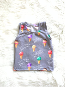 Summer Unisex Sleeveless Ice Cream Tank Top - Life is Short & Sweet Handmade Gray Sugar Kids Boys Girls Ice Cream Cone Baby Toddler Shirts