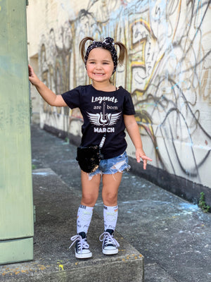 Kids Birthday Tee - Trendy Wide Distressed Neck Legends Rock and Roll Black and White T-Shirt - Baby Kids Toddler Girl Guitar Month