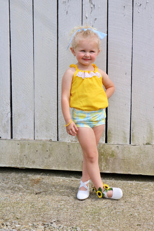 Lemon Gingham Girls Bloomers - Yellow, Teal Aqua Mint White Checkered Stretchy Knit Toddler Shorties - Kids Shorts - Fruit Bummies Summer