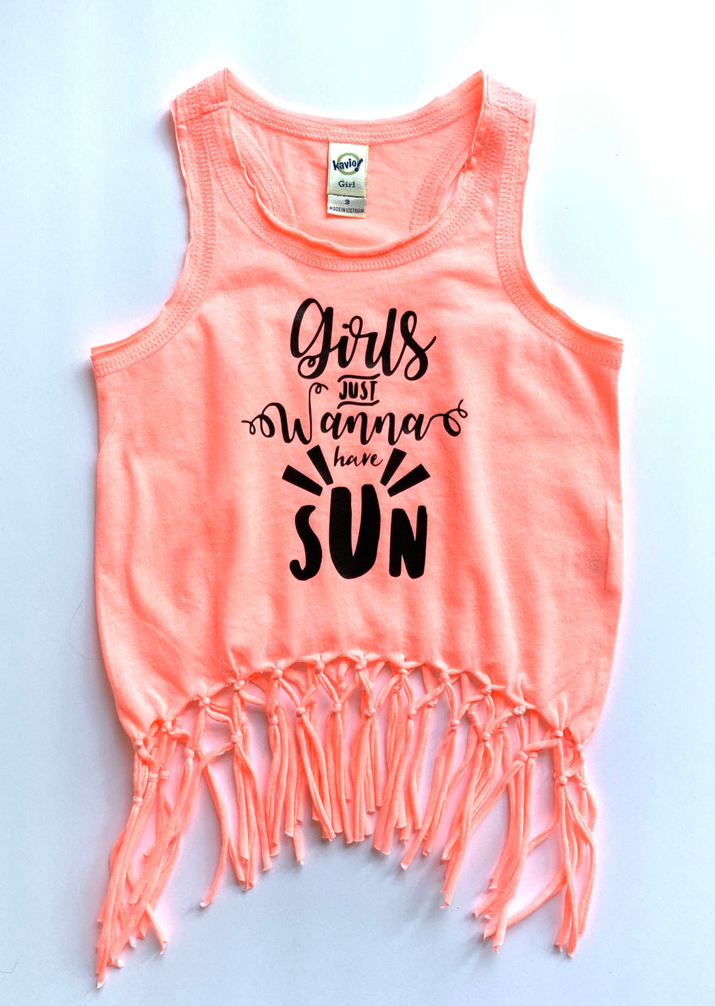 Girls Just Wanna Have Sun Racerback Fringe Tank Top -  Sun Neon Coral Pink Boho Belly Girls Shirt - Kids Summer Top