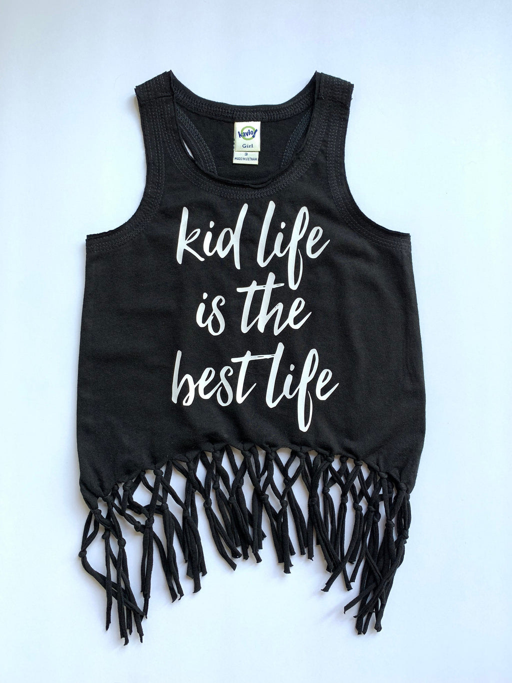 Kid Life is the Best Life Racerback Fringe Tank Top -  Monochrome Black and White Boho Belly Girls Shirt - Kids Summer Top