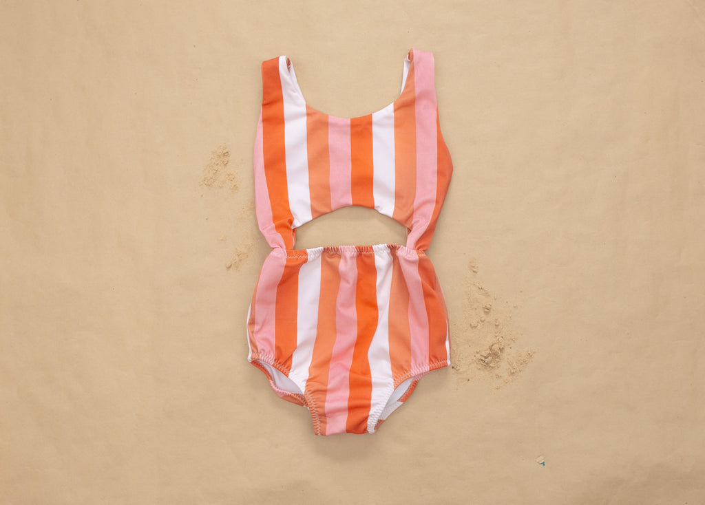 Vintage Stripe Peek-a-Boo One Piece Swimsuit