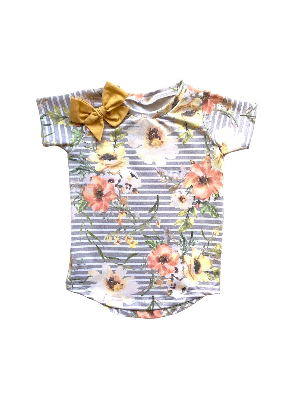 Fall Floral on Gray Stripes Curved Hem Tee