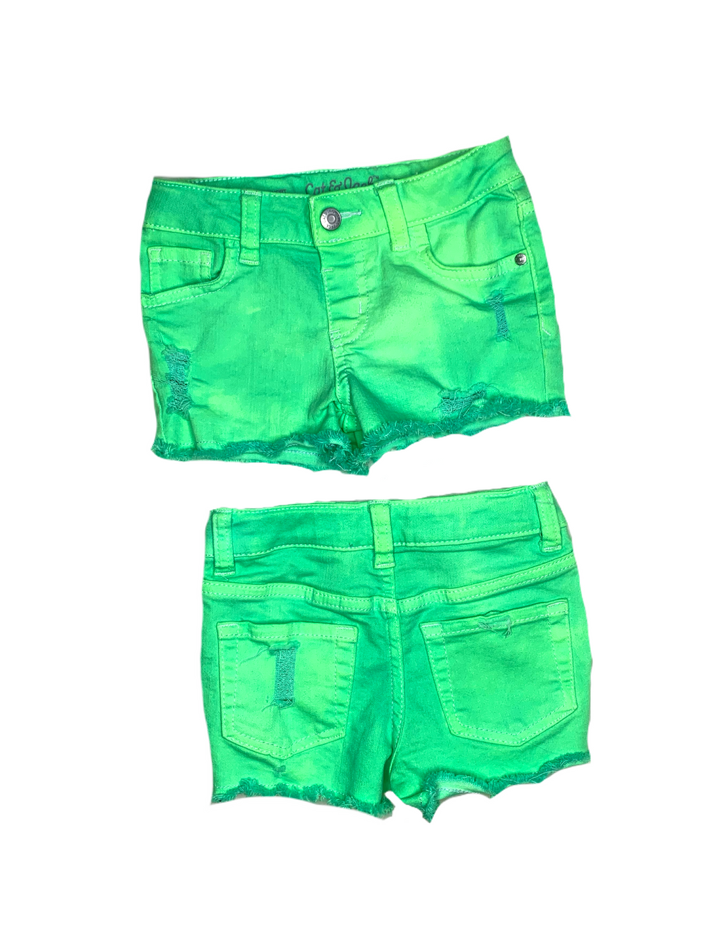 Distressed Neon Green Jean Shorts