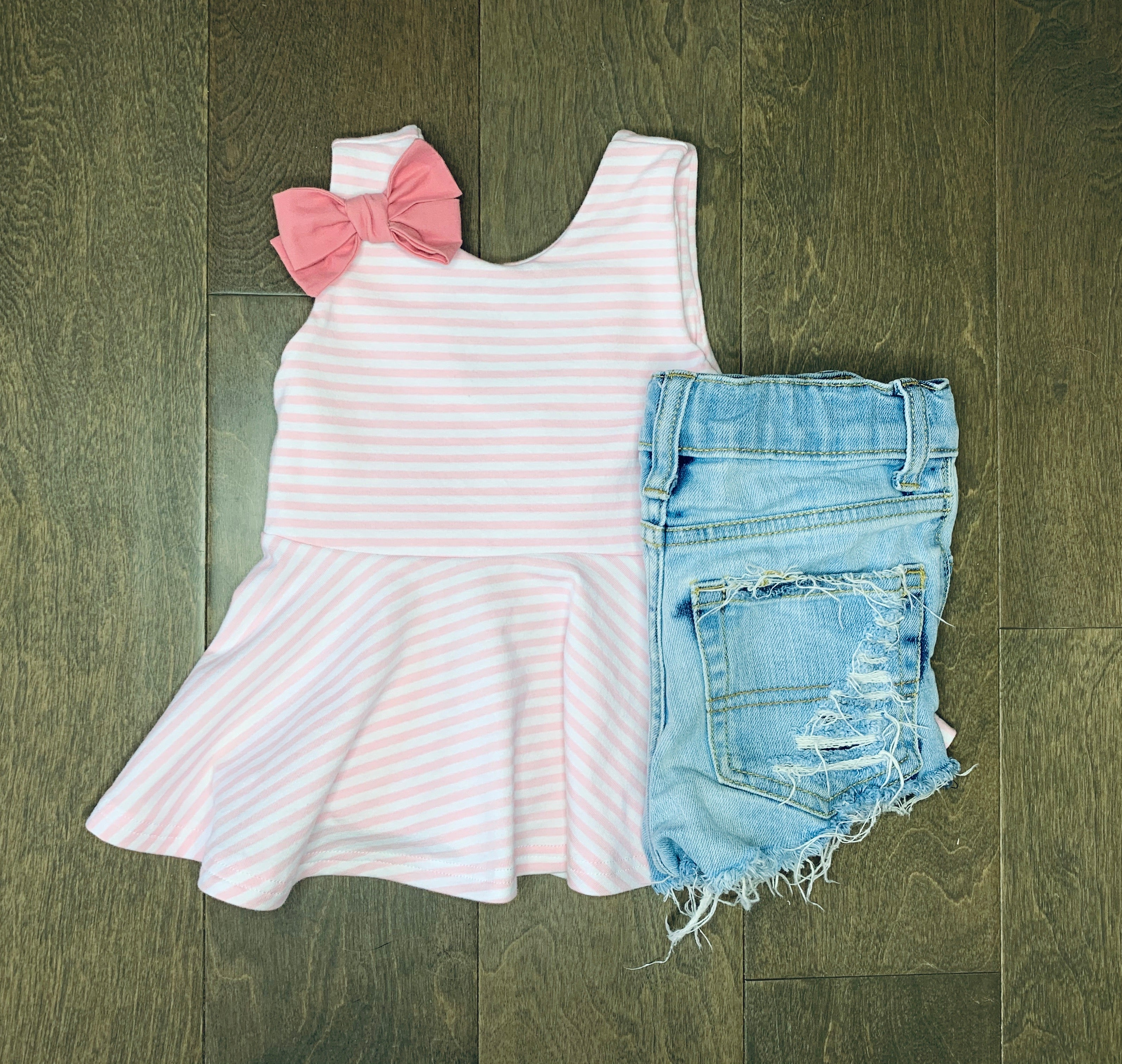 Sweet Baby Pink Striped Peplum Top
