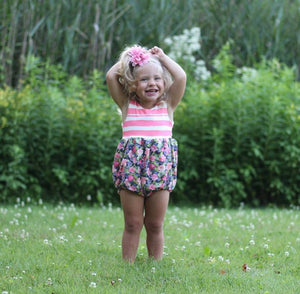 Handmade Girls Striped + Floral Bubble Romper