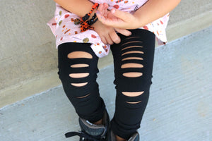 Solid Black Hand-Distressed Leggings