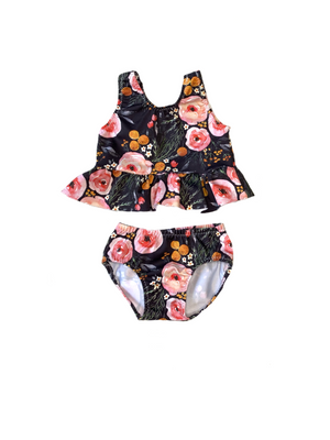 Floral or Gingham Girls 2 Piece Ruffle Swimsuit