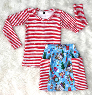 Red & White Striped Fitted Top