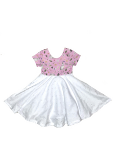 Bunny Twirl Dress - Lavender and White
