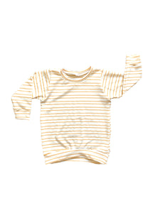 Mustard and Ivory Striped Women's Sweater Pullover