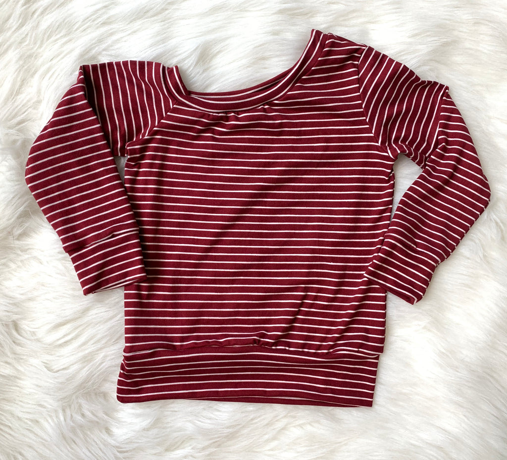 Off-Shoulder Maroon Mini Stripe Pullover Top