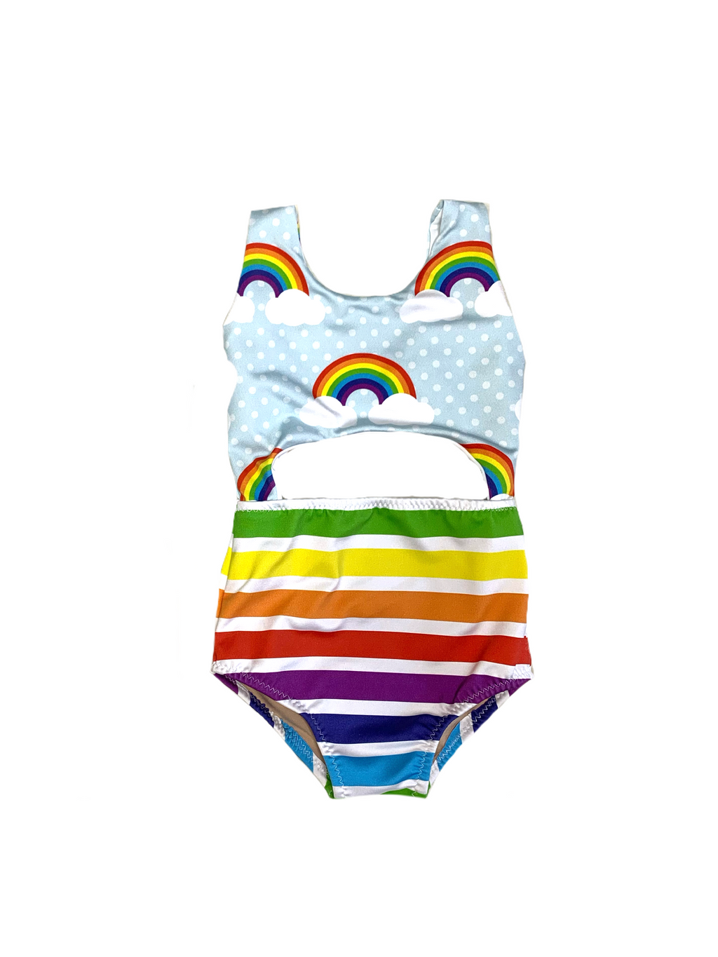 Colorful Rainbow with Stripes One Piece Swimsuit