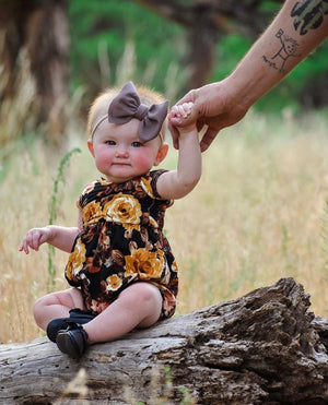 Mustard Floral Fall Bubble Romper