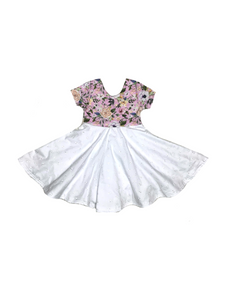 Spring Floral Twirl Dress - Lavender and White