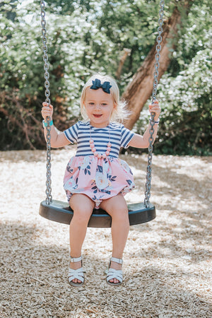 Girls Navy and Pink Striped + Floral Bubble Romper