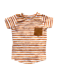 Pumpkin Spice Striped Pocket Tee