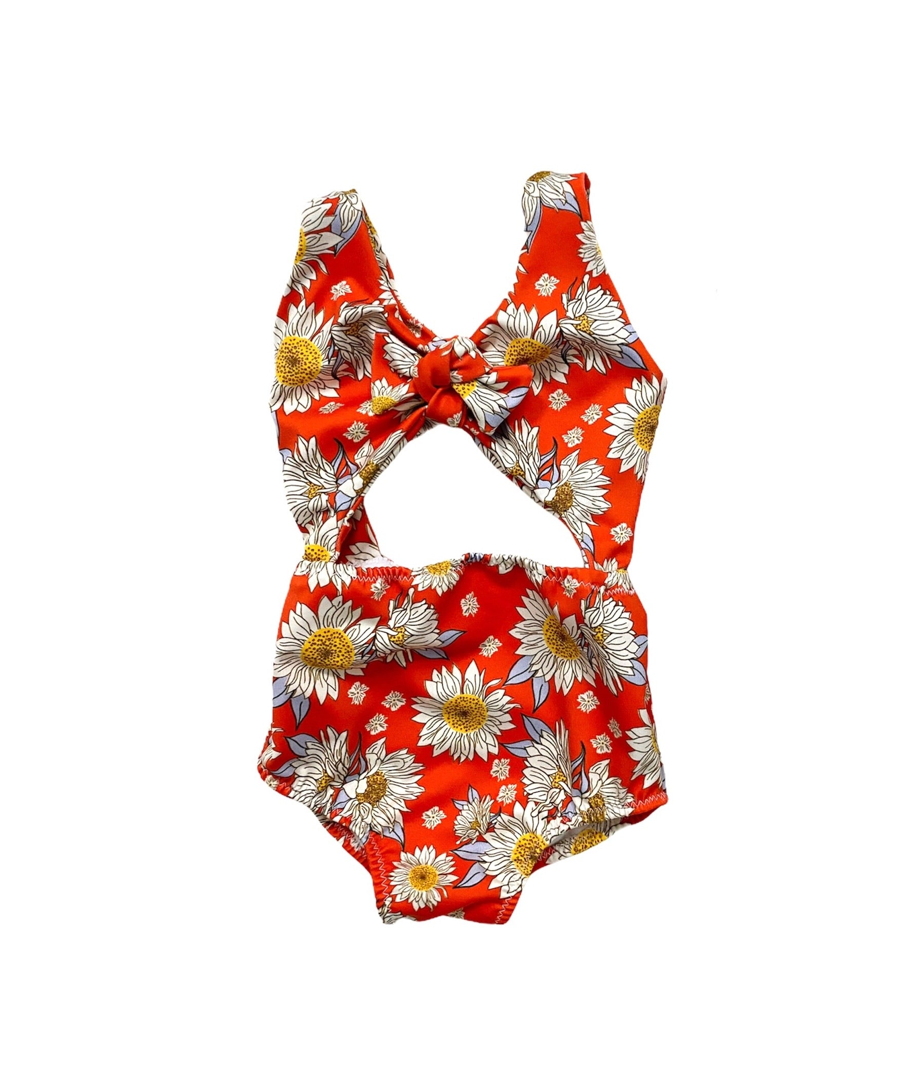 Bright Red Floral Peek-a-Boo One Piece Swimsuit
