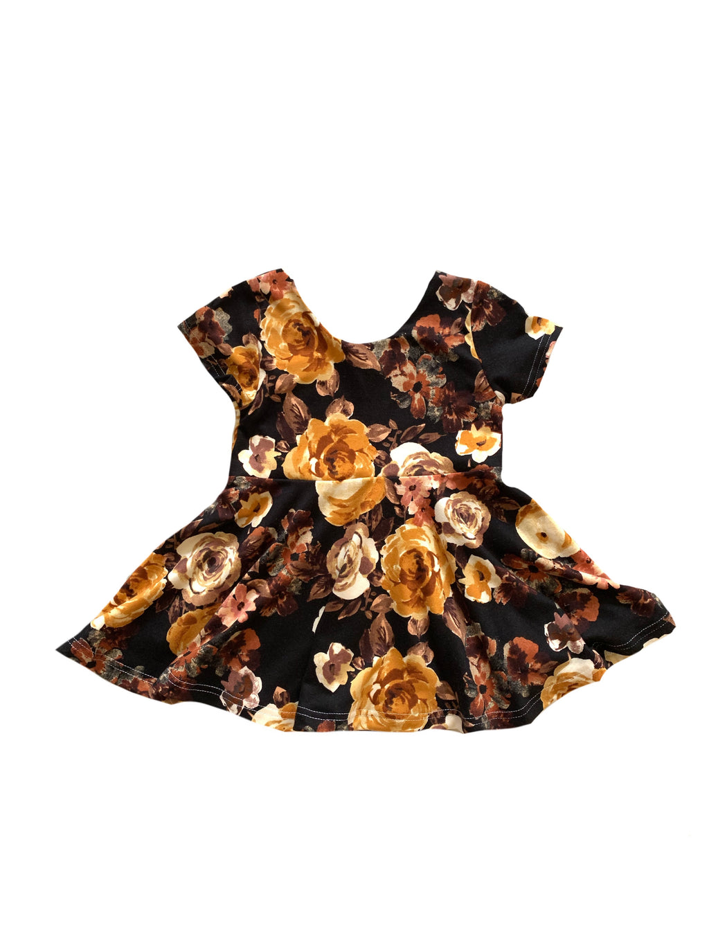 Fall Mustard On Black Floral Peplum or Dress