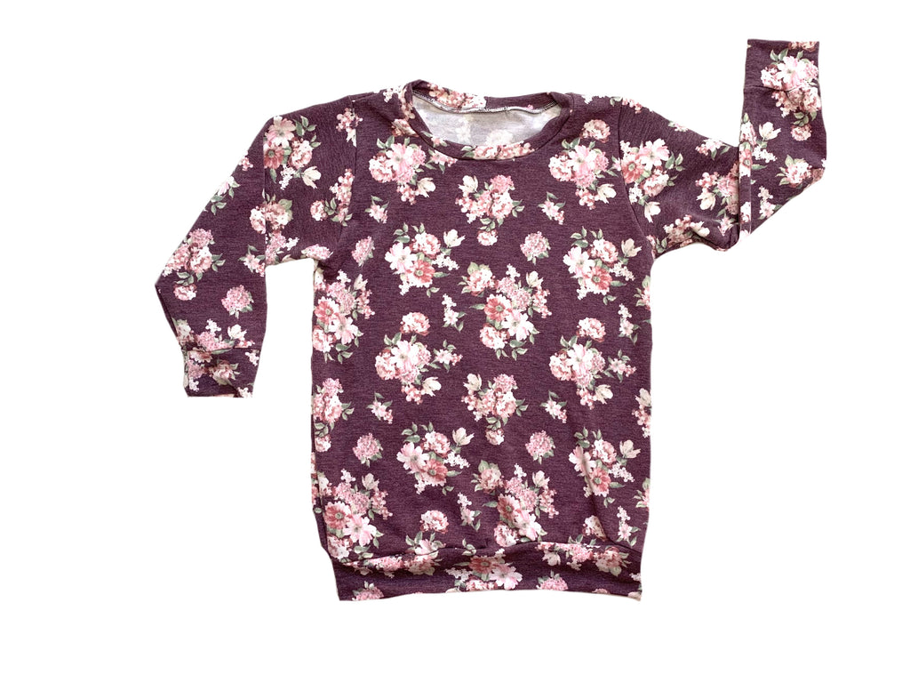 NEW Mauve Purple Floral Sweater Pullover