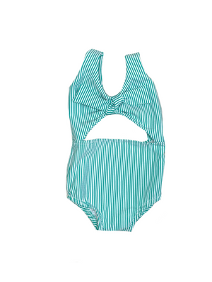 Turquoise Seersucker One Piece Swimsuit