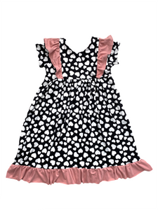 Heart with Ruffles Twirl Dress - Long or Short Sleeve