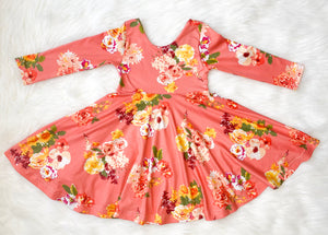 Coral Floral Twirl Dress